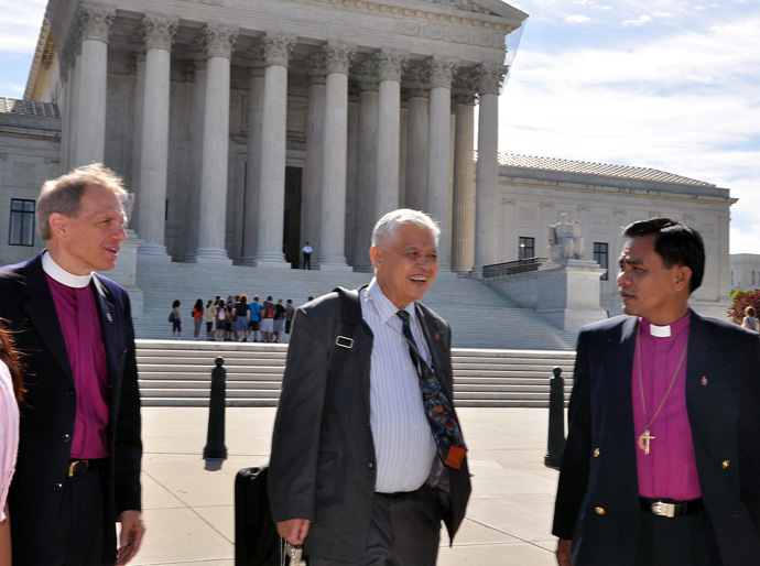 (From left) United Methodist Bishops John Schol, Daniel C. Arichea Jr. and Rodolfo Juan traveled to Washington in May 2010 to lobby for action on human rights abuses in the Philippines. File photo by Melissa Lauber, UM News.