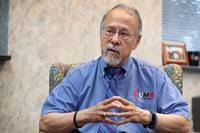 Gilbert C. Hanke reflects on nearly 12 years as the chief executive of United Methodist Men from his office at the agency in Nashville, Tenn. He will retire after a new leader is selected. Photo by Mike DuBose, UM News.