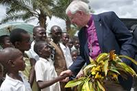 Former United Methodist Bishop James E. Dorff is welcomed in Kamina, Congo, as part of a delegation that traveled from the U.S. in observance of World Malaria Day in 2010. Dorff died June 7. He was 73. File photo by Lynne Dobson.