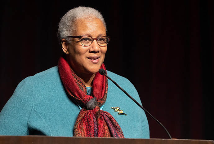 The Rev. Jacqui King addresses the 2020 Pre-General Conference Briefing in Nashville, Tenn. File photo by Mike DuBose, UM News.