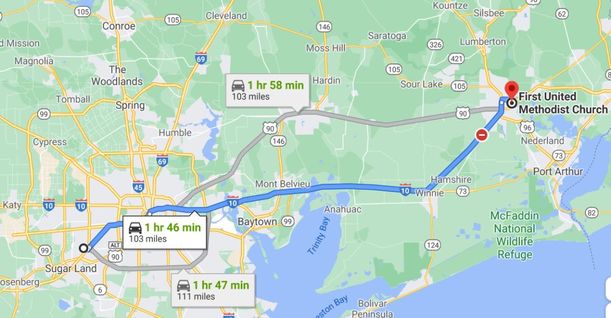 유양진 목사는 매 주일 자신이 거주하는 휴스턴에서 100여 마일 떨어진 버몬트 연합감리교회를 찾아가 섬기고 있다. 사진은 유 목사의 이동구간을 보여주는 구글 지도 갈무리.