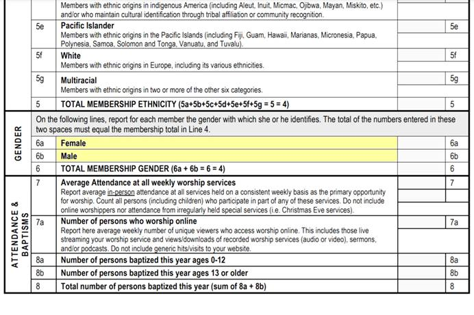 During a June 25 online meeting, the General Council on Finance and Administration board voted to update local-church statistical forms to include the option of non-binary under the category of gender. This change only affects the U.S. Excerpt of the current church statistical form highlighted for emphasis by UM News.