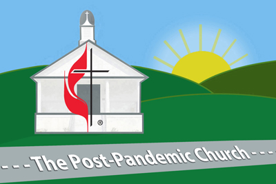 As COVID-19 restrictions lift, UM News reporters and photographers take a look at how things have changed — for local churches, annual conferences, seminaries, United Methodist groups and agencies and others —  and where the denomination is headed. The Post-Pandemic Church. Graphic by Laurens Glass, UM News.