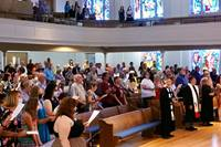 The First United Methodist Church in Denton, Texas, joins in worship on June 6, the first time the sanctuary had been used for that purpose since the COVID-19 pandemic forced building closures all over the U.S. Photo by Sam Hodges, UM News.