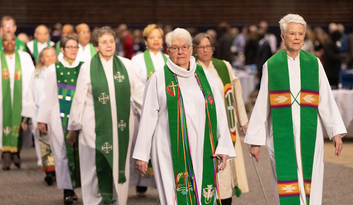 United Methodist bishops process into the opening worship service for the 2019 special General Conference in St. Louis. The five U.S. jurisdictions have made public their episcopal supervision plans outlining where U.S. bishops will serve in this interim time before elections scheduled for next year. File photo by Mike DuBose, UM News.