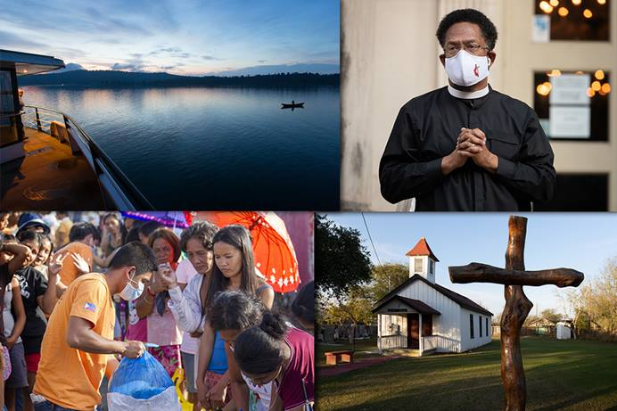 (Clockwise, from top left) Lake Kivu in the Democratic Republic of Congo; the Rev. Stephen Handy leads a prayer vigil in Nashville, Tenn., for those lost to acts of racism; Jackson Chapel United Methodist Church in San Juan, Texas; volunteers from the United Methodist Committee on Relief distribute food to survivors of Typhoon Haiyan in Tacloban, Philippines. Photos by Mike DuBose, UM News.