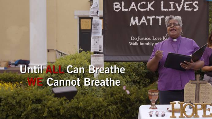 United Methodist Bishop LaTrelle Easterling helps conduct a denomination-wide online service of lament for racism while standing in front of St. John's Episcopal Church in Washington on June 24, 2020. The anti-racism work of the church is just getting started after the first year of the Dismantling Racism campaign, say bishops and others. File screenshot of video by United Methodist Communications.