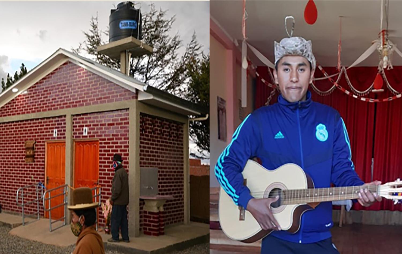 A la izquierda, las instalaciones sanitarias terminadas en la Iglesia Metodista Nueva Esperanza en Bolivia. A la derecha,: Rider en su iglesia en Bolivia. Foto cortesía de FIEA – Bolivia.