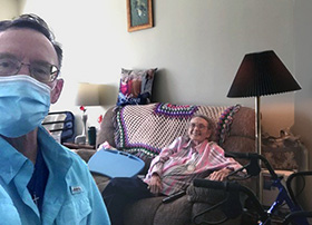 Phil Estrem (left), a volunteer with the South Crestview campus of Crosspoint, a United Methodist church in Niceville, Fla., regularly visits Martha Lambert to take her to her pedicure appointment. Photo courtesy of Phil Estrem.