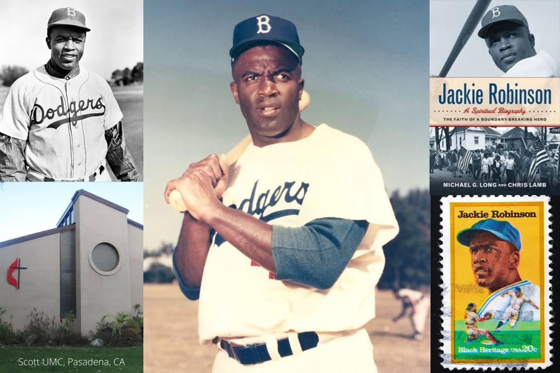 메이저리그 내 인종차별의 벽을 무너뜨렸던 야구계의 거장 재키 로빈슨가 선수 생활을 하는 동안 평상심을 잃지 않고 놀라운 업적을 이룬 데에는 그의 신앙이 중요한 역할을 했다. 크리스탈 캐비니스가 캔바를 이용해 만든 콜라주, 연합감리교 공보부.