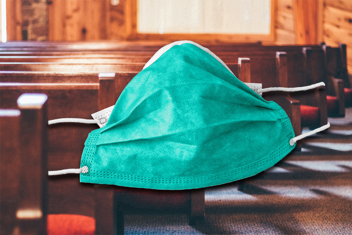 New mask recommendations from the U.S. Centers for Disease Control and Prevention and the rise in the delta variant of the coronavirus affect churches' decisions on in-person worship and safety protocols. Pews image by Andrew Seaman, courtesy of Unsplash; mask image courtesy of Pixabay; graphic by Laurens Glass, UM News.