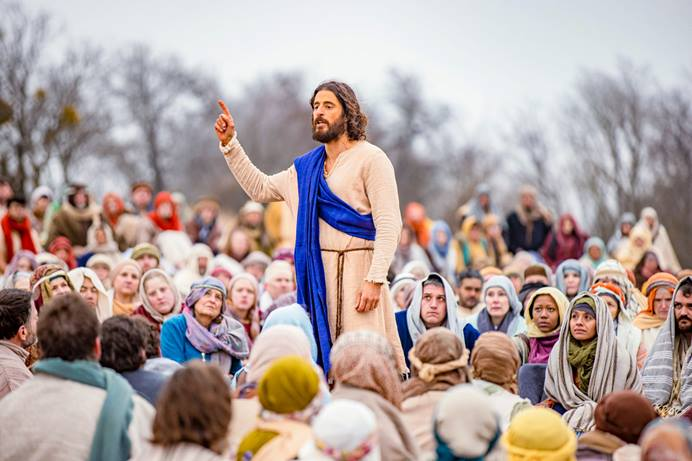 """A scene from the TV series """"The Chosen"""" shows Jesus, played by actor Jonathan Roumie, speaking to a crowd. The Rev. Chappell Temple of Christ United Methodist Church in Sugar Land, Texas, is doing an eight-week study in response to the popular show on Jesus' life and ministry. Photo by Barr Photography, courtesy of VidAngel."""