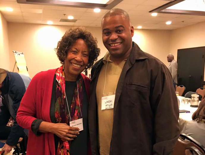 Bishop Beverly J. Shamana poses for a photo with Dr. Larry R. Hygh Jr. during a Western Jurisdiction Mission Cabinet meeting. Photo courtesy of the author.