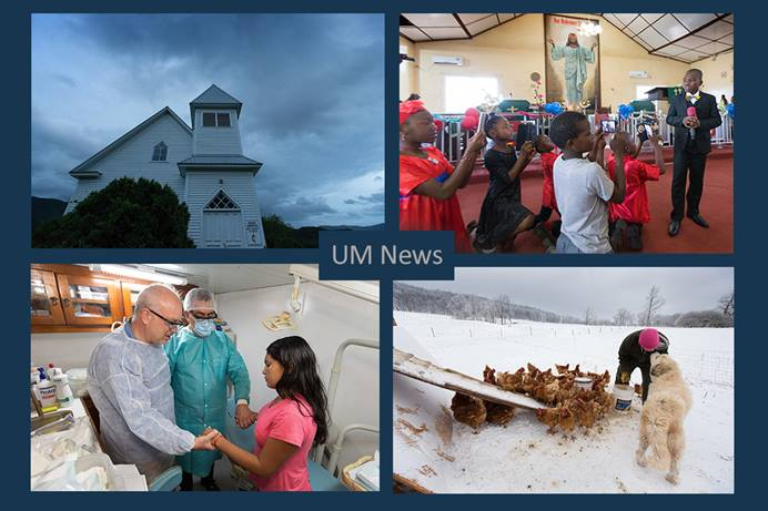 From top left: Storm clouds swirl behind Pine Grove United Methodist Church in Bastian, Va.; Hillary Cooper, 11, gives the sermon at Tubman Memorial United Methodist Church in Monrovia, Liberia; Andy, a recovering addict, gets a smooch from guard dog at Brookside Farm rehabilitation program in Aurora, W.Va.; the Rev. Armando Rodriguez Jr. (left) prays with Dr. Dimas Hidalgo (center) and Nelcilone Broga onboard the John Wesley medical boat while docked in Murutinga, Brazil. All photos by Mike DuBose, UM News.