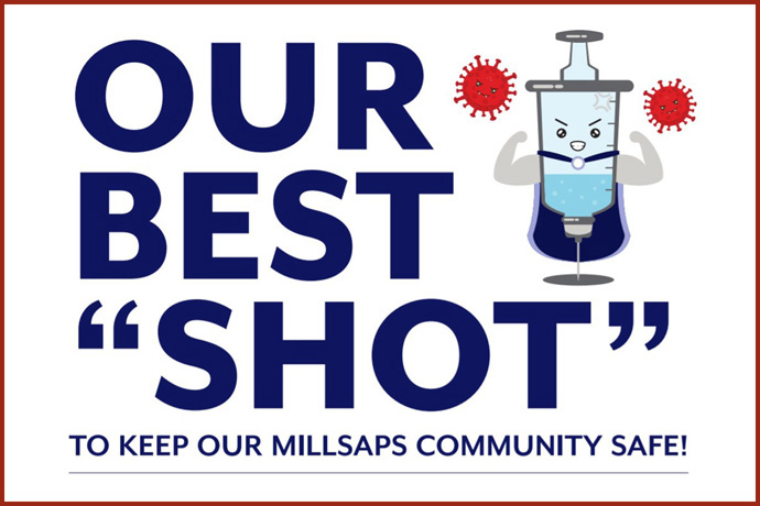 A flyer from Millsaps College in Jackson, Miss., gives information about how students and staff can receive the COVID-19 vaccine through the school's health facility. Detail from flyer, courtesy of the Millsaps College Department of Health.