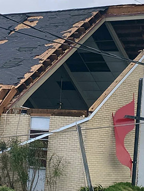 The sanctuary at Golden Meadow United Methodist Church in Galliano, La., stands open to the sky after Hurricane Ida tore off part of the roof. Photo courtesy of the Louisiana Conference.
