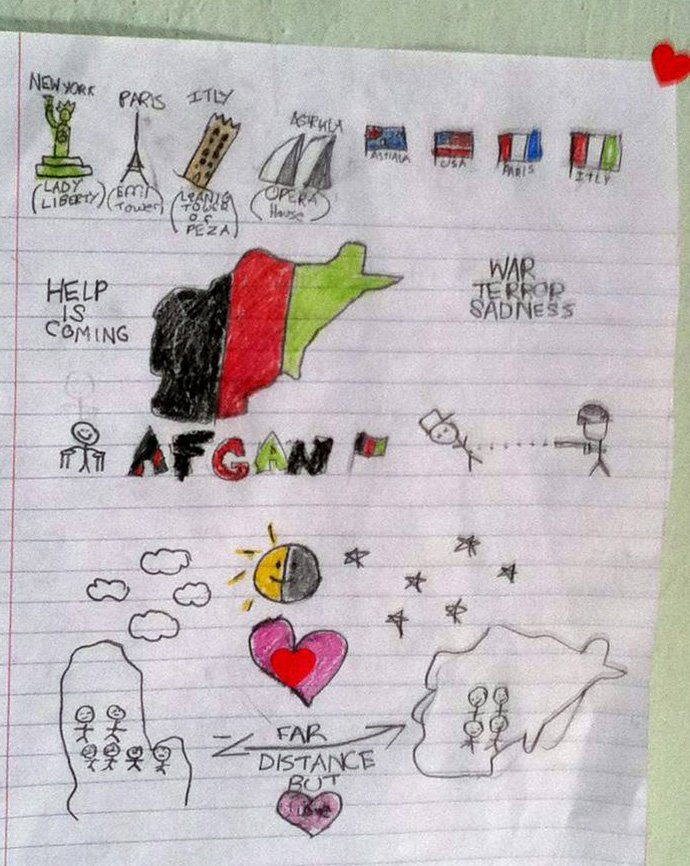 This drawing was made by the Rev. Thomas Kim's niece, then 8, after her father died in Afghanistan on Dec. 6, 2011. Photo by the Rev. Thomas Kim.