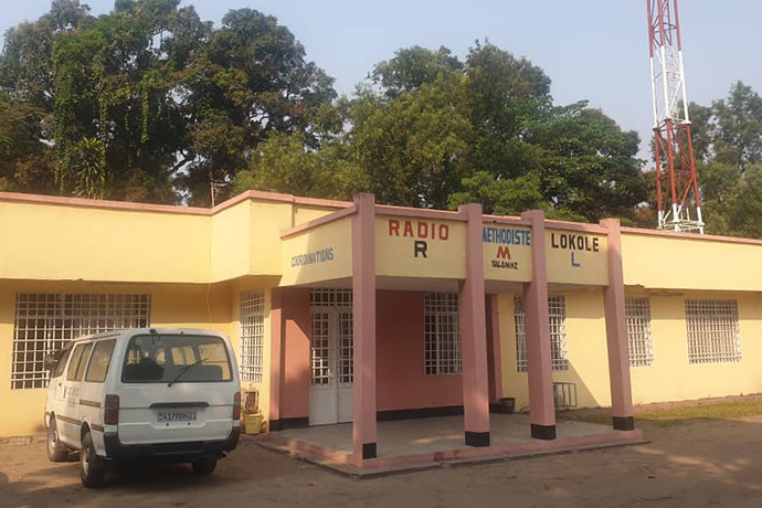 The United Methodist Church recently reopened its FM radio station in Kinshasa, Congo. Lokole Methodist Radio covers almost 4,000 square miles in a region inhabited by about 17 million potential listeners in Congo and the surrounding areas. Photo courtesy of François Wetshi Emongo.