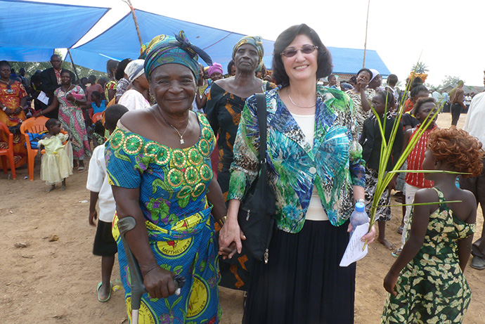 Barbara Boigegrain, top executive of Wespath Benefits and Investments, visits Congo in 2014 as part of the effort to start a pension plan for clergy and United Methodist-affiliated institutions there. Photo courtesy of Wespath.