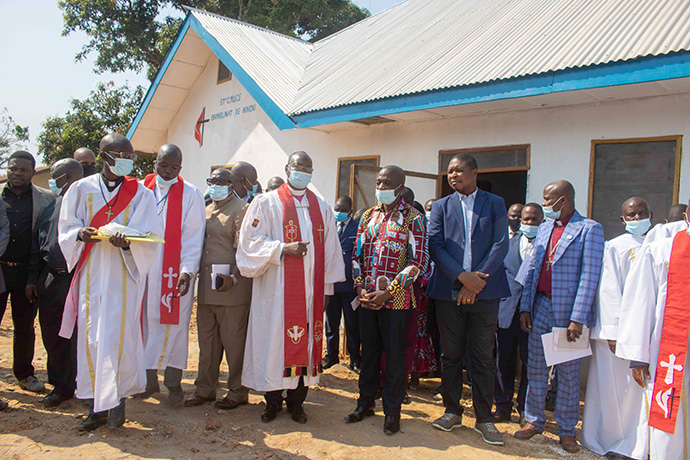 Church leaders and government officials gather for the dedication of a United Methodist orphanage in Kindu, Congo. Photo by Chadrack Tambwe Londe, UM News.