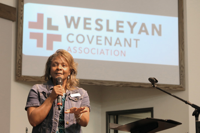The Rev. Angela Pleasants, Wesleyan Covenant Association vice president of clergy and church relations, speaks Sept. 21 at the Tennessee WCA Chapter regional gathering in Franklin, Tenn. Photo by Heather Hahn, UM News.