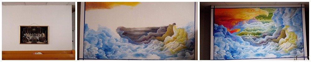 Neal comenzó a pintar el fondo del mural en marzo. Foto cortesía de la Conferencia Anual el Norte de Tejas.