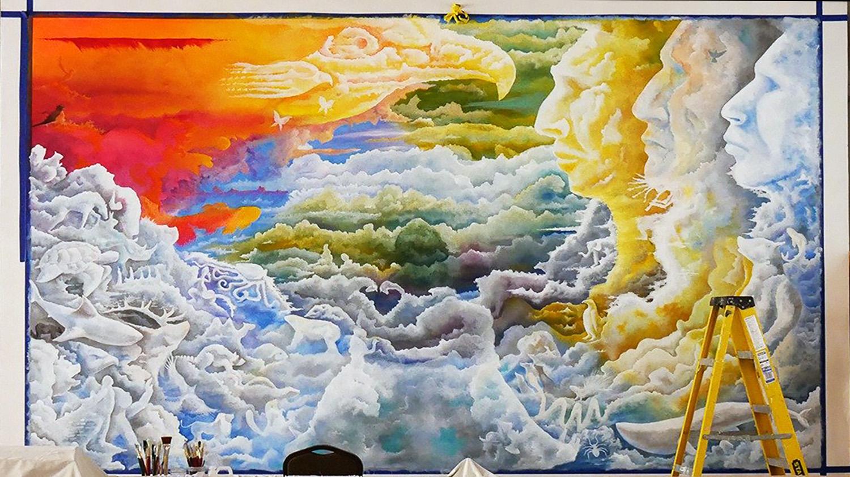 El mural se ha convertido en una pieza central en la adoración de la comunidad de La IMU Indígena de Dallas, que está compuesta por nativos/as americanos/as de una amplia variedad de tribus y naciones. Foto cortesía de la Conferencia Anual del Norte de Tejas