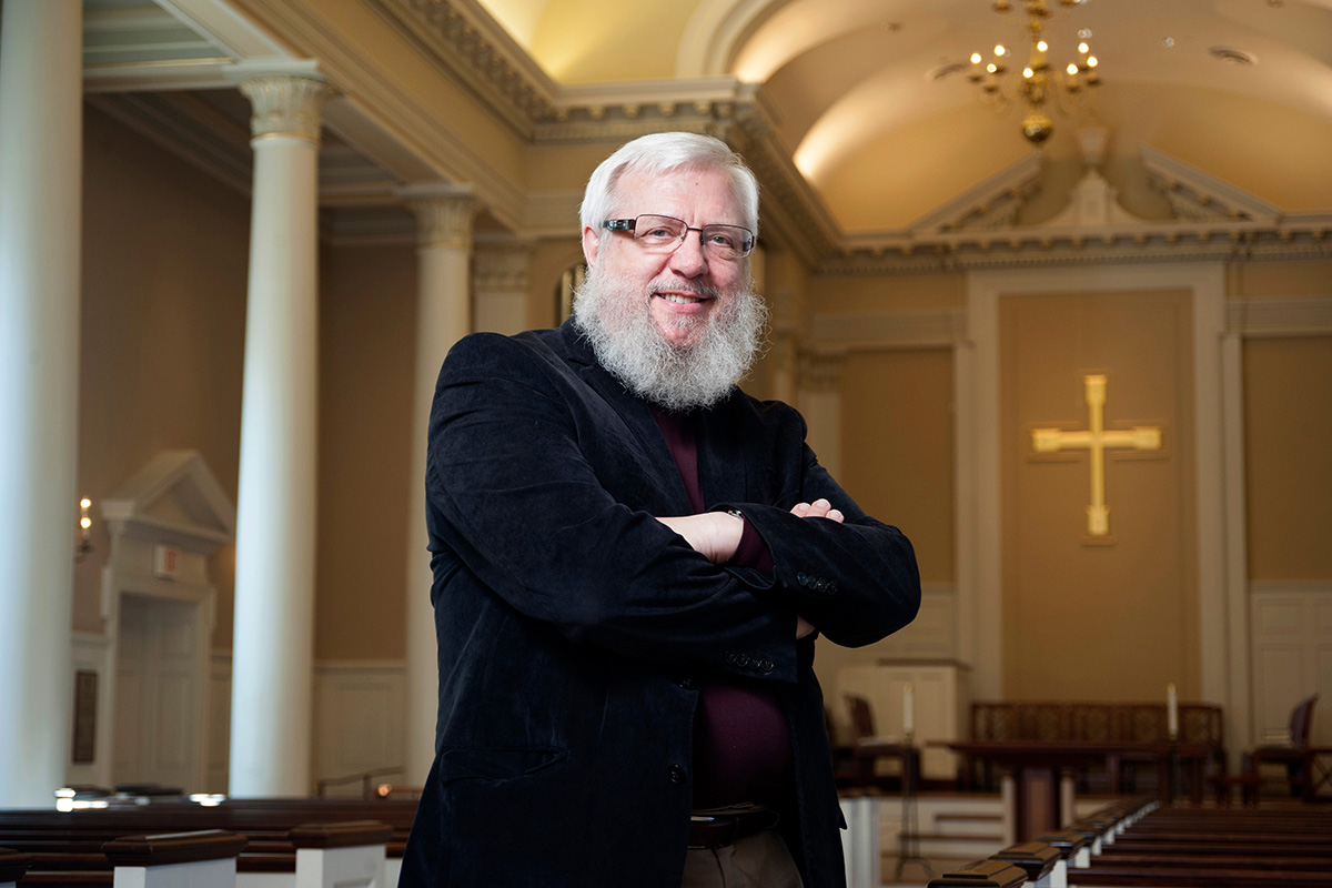 """The Rev. William J. """"Billy"""" Abraham, a longtime professor at Perkins School of Theology, is shown here at Perkins Chapel in Dallas in 2014. Abraham died Oct. 7 at 73. File photo by Hillsman Stuart Jackson, © Southern Methodist University."""