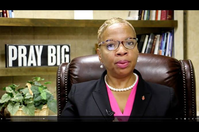 """Bishop Tracy Smith Malone of the East Ohio Conference offers a video welcome to the Do No More Harm website, saying the church """"is committed to responding to clergy sexual misconduct in a way that holds all parties accountable and promotes healing."""" Malone is president of the Commission on the Status and Role of Women. Screenshot of commission video by UM News."""