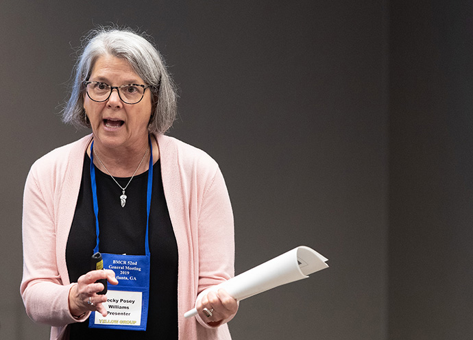 Becky Posey Williams of the United Methodist Commission on the Status and Role of Women leads a workshop on preventing sexual misconduct in the church at the 2019 Black Methodists for Church Renewal meeting in Atlanta. File photo by Mike DuBose, UM News.
